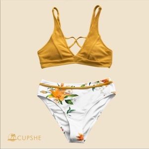 NWT Cupshe bikini swimsuit yellow and white